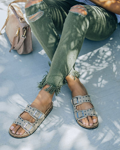 Tilly Studded Buckle Sandal - Taupe