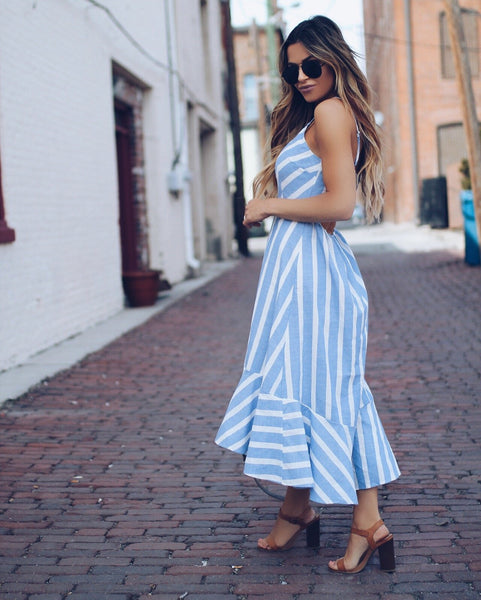 Selena High Low Cotton Maxi Dress - Blue