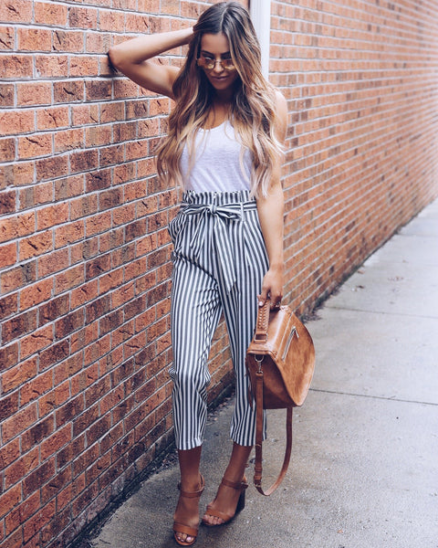 High Society Striped Pocketed Tie Pants - FINAL SALE