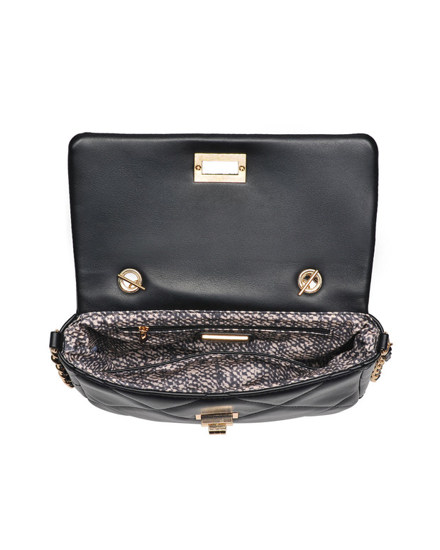 Emily Quilted Chain Crossbody Bag - Black view 4