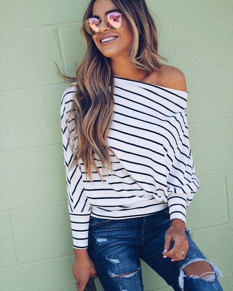 Simone Striped Off The Shoulder Top - Black