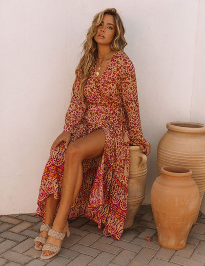 Azeem Floral High Low Wrap Maxi Dress
