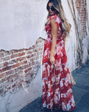 Chiffon Rose Ruffle Maxi Dress - Red