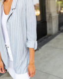 Miss Punctuality Striped Pocketed Blazer