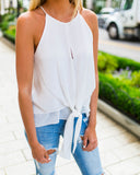 Camryn Tie Tank - White - FINAL SALE