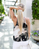 Tropical Breeze Tie Tank - Black