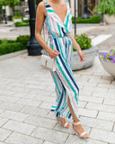 Blue Hawaii Pocketed Tie Jumpsuit