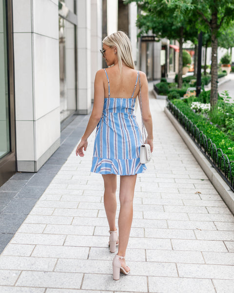 Into The Blue Ruffle Wrap Dress - FINAL SALE