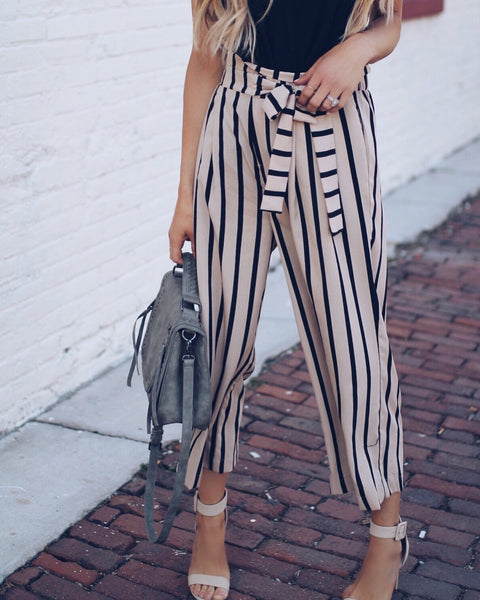 Big Shot Pocketed Striped Trousers - Taupe/Black