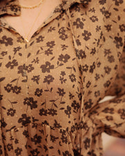 Gavin Floral Swiss Dot Babydoll Dress - Mocha - FINAL SALE view 5