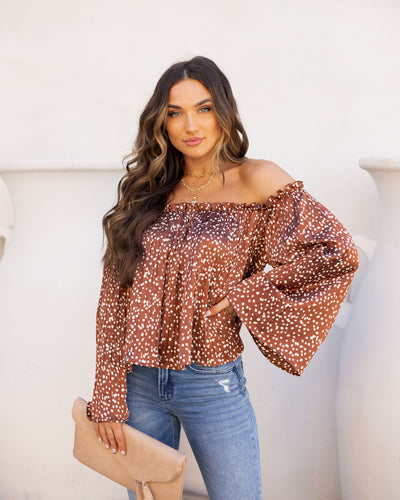 Barberry Pleated Off The Shoulder Blouse