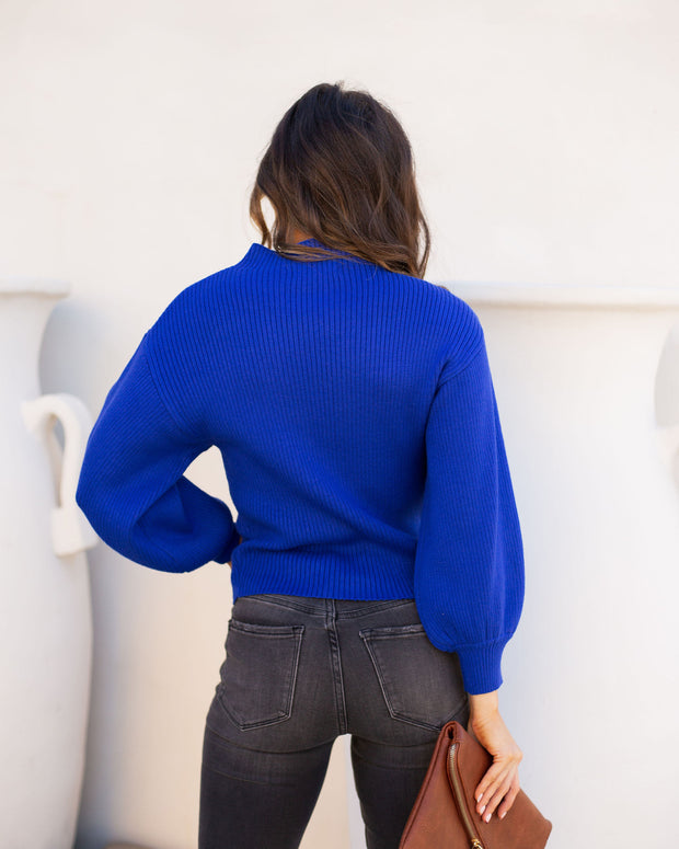Hickory Ribbed Knit Sweater - Cobalt Blue