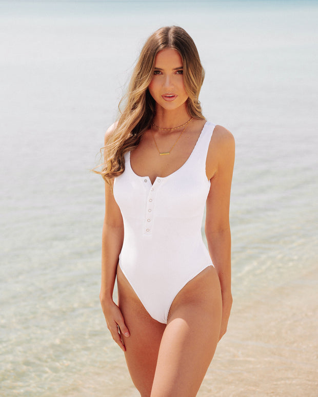 Playa Ribbed Snap Front One Piece - White view 6