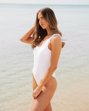 Playa Ribbed Snap Front One Piece - White view 8