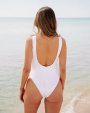 Playa Ribbed Snap Front One Piece - White view 2