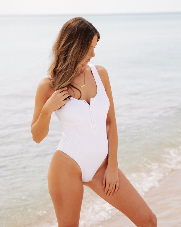 Playa Ribbed Snap Front One Piece - White view 1