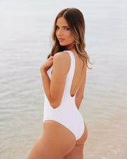 Playa Ribbed Snap Front One Piece - White view 11