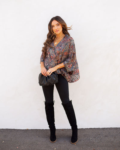Flower District Velvet Drape Blouse