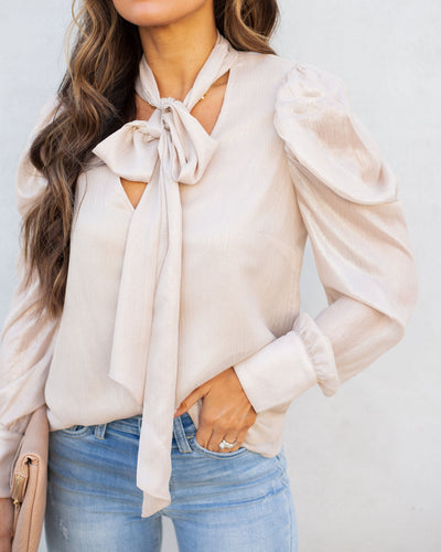 Pascal Button Down Shimmer Tie Blouse