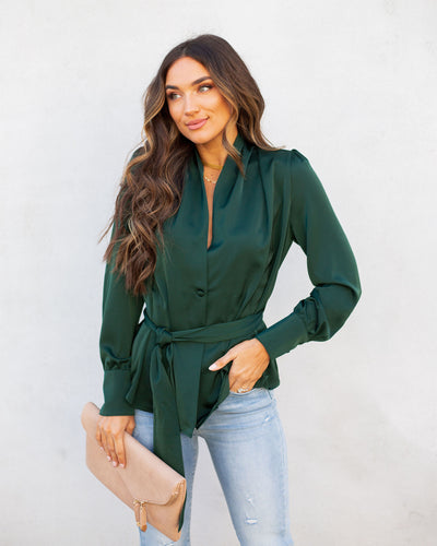 Under The Mistletoe Satin Button Down Tie Blouse