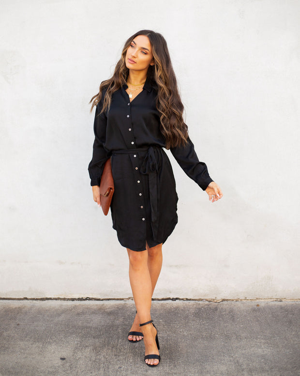 Aquaria Satin Button Down Shirt Dress - Black - FINAL SALE view 5