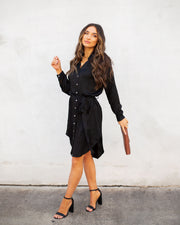 Aquaria Satin Button Down Shirt Dress - Black - FINAL SALE view 1