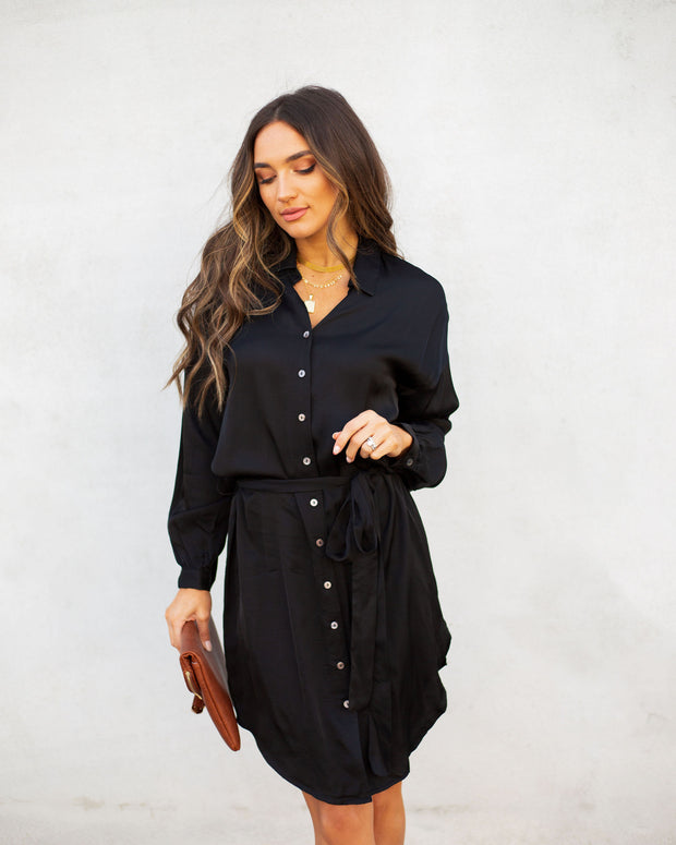 Aquaria Satin Button Down Shirt Dress - Black - FINAL SALE view 7