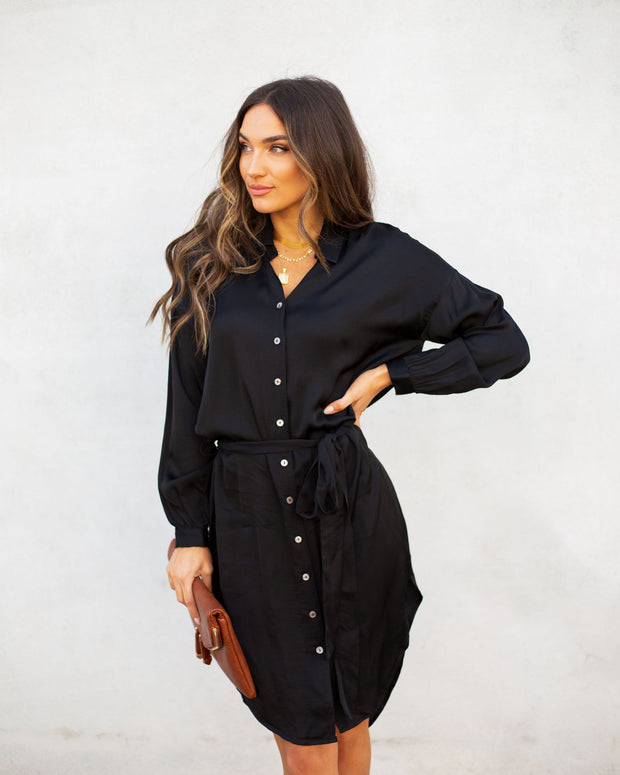 Aquaria Satin Button Down Shirt Dress - Black - FINAL SALE view 3