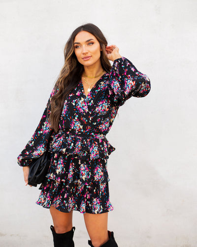 Schwartz Floral Pleated Ruffle Tiered Mini Dress