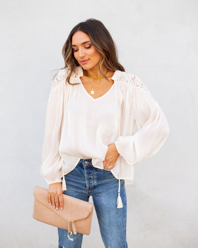 Confucius High Sheen Lace Blouse - Cream