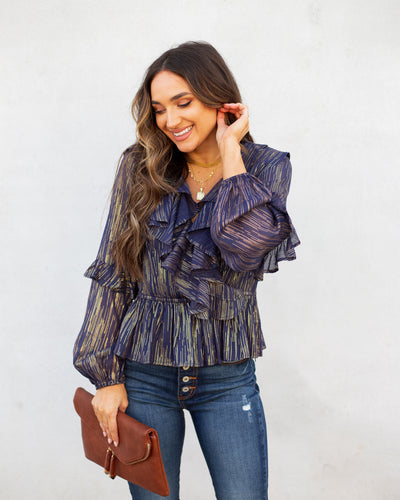 Theatrical Metallic Ruffle Blouse