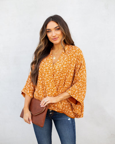 Khalil Floral Shimmer Drape Blouse - Clay