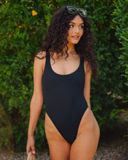 Bronzed Ribbed Scoop One Piece - Black view 5