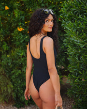 Bronzed Ribbed Scoop One Piece - Black view 2