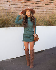 Kolby Long Sleeve Ruched Knit Dress - Green view 1