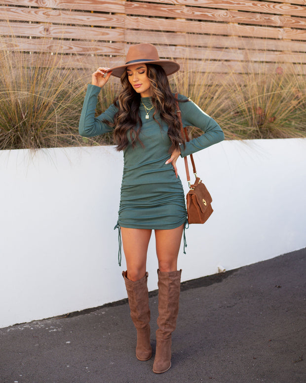 Kolby Long Sleeve Ruched Knit Dress - Green view 6