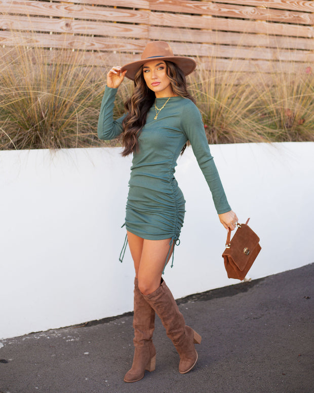 Kolby Long Sleeve Ruched Knit Dress - Green view 7