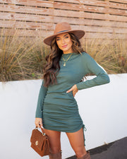 Kolby Long Sleeve Ruched Knit Dress - Green view 3