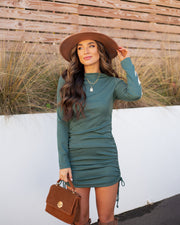 Kolby Long Sleeve Ruched Knit Dress - Green view 9