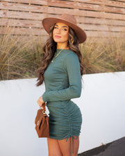 Kolby Long Sleeve Ruched Knit Dress - Green view 5