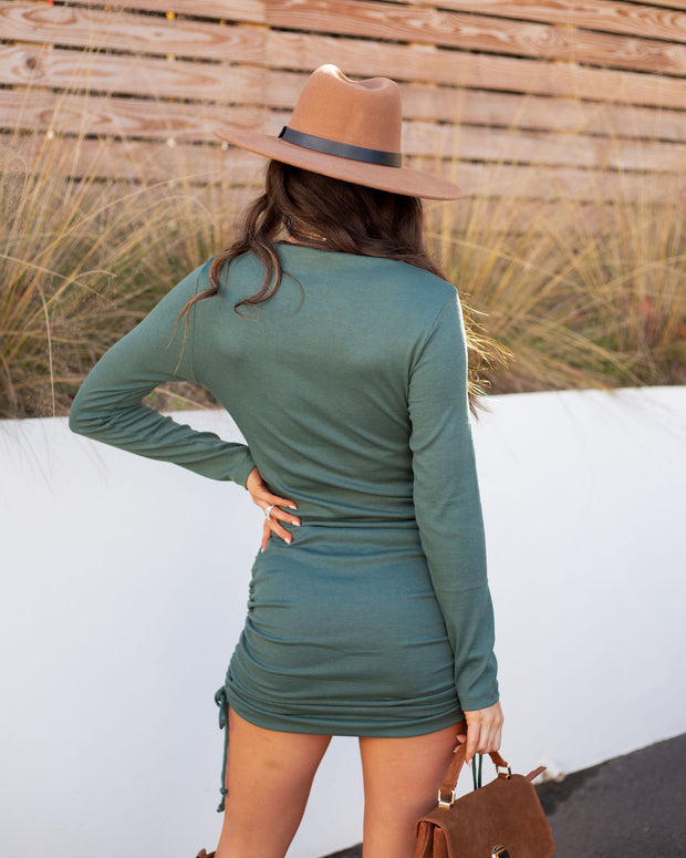 Kolby Long Sleeve Ruched Knit Dress - Green view 2