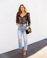 Belle Lace Up Cropped Lace Top view 8