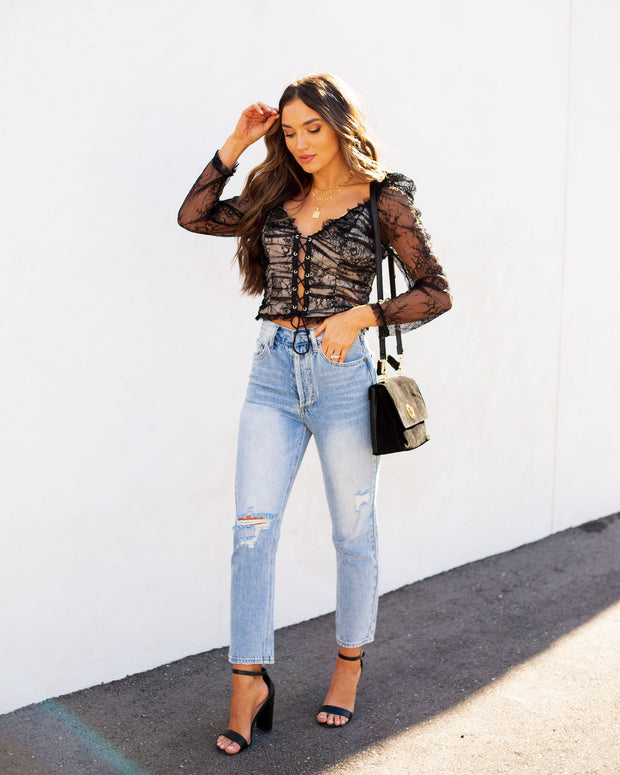 Belle Lace Up Cropped Lace Top view 9