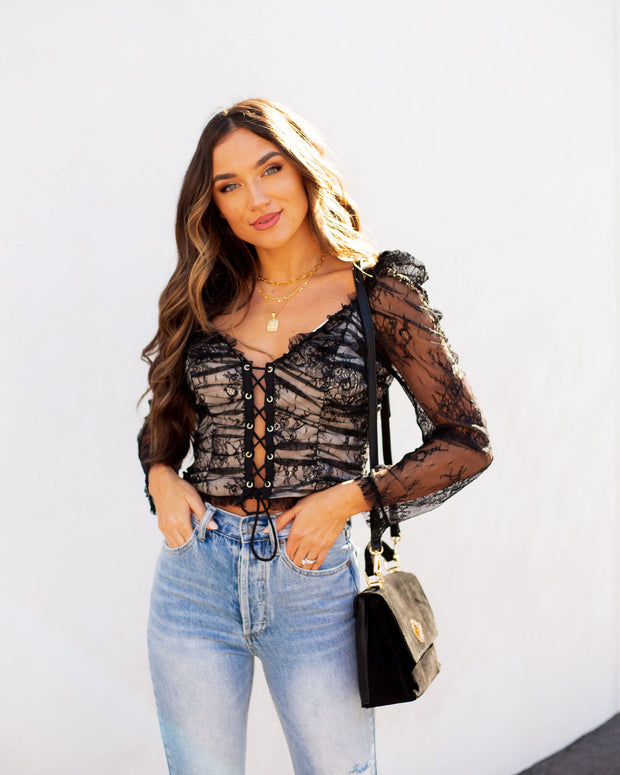 Belle Lace Up Cropped Lace Top view 1