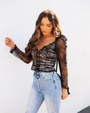 Belle Lace Up Cropped Lace Top view 6