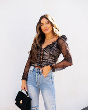 Belle Lace Up Cropped Lace Top view 7