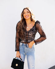 Belle Lace Up Cropped Lace Top view 5