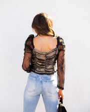 Belle Lace Up Cropped Lace Top view 2