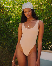 Bronzed Ribbed Scoop One Piece - Nude view 1