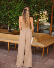Teri Linen Blend Wide Leg Pants - Camel view 2